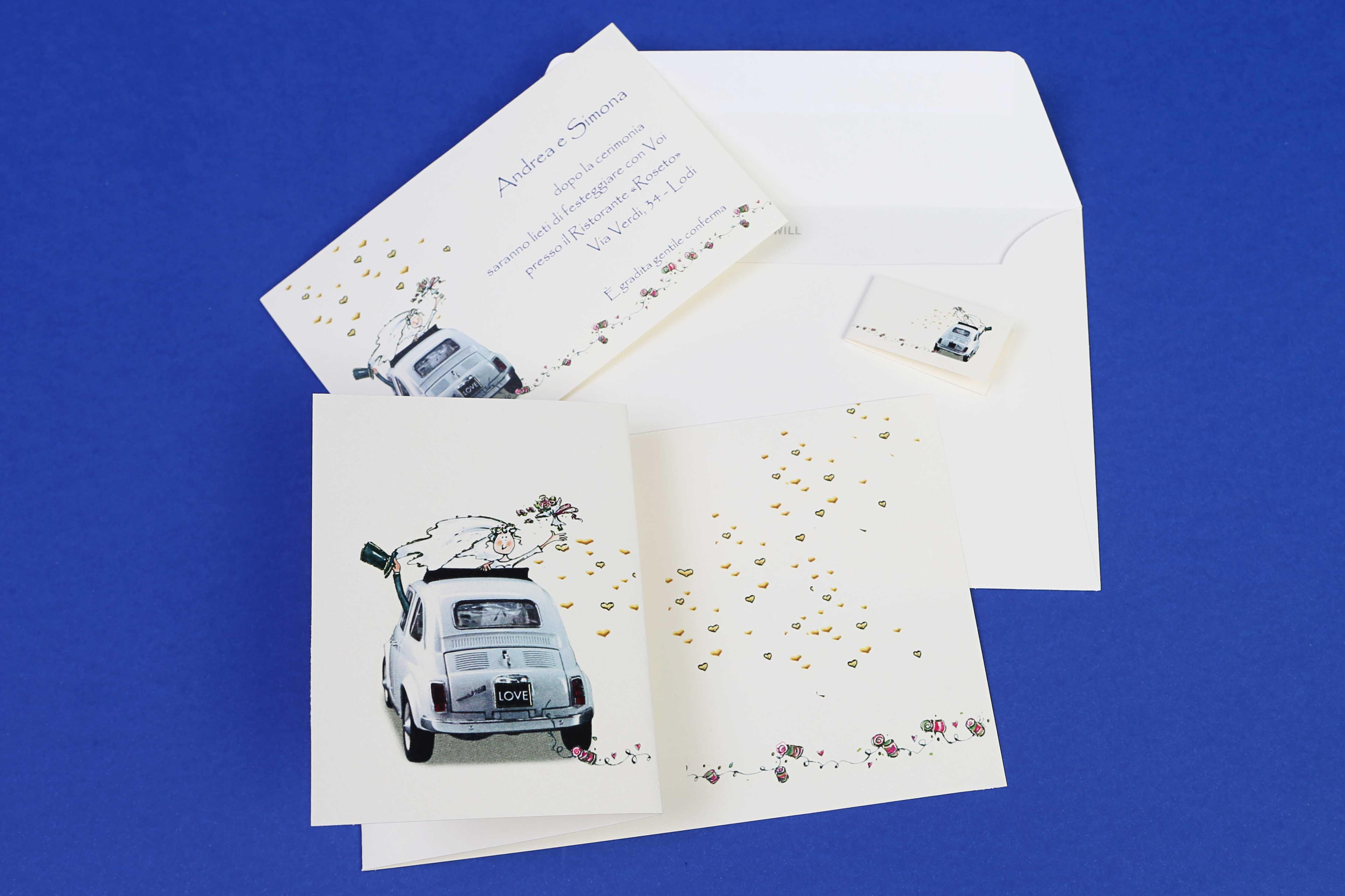 Partecipazioni Matrimonio 500.Partecipazione Fiat 500